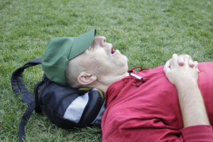 A sleep apnea sufferer in a San Francisco park